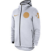 Nike Men's Golden State Warriors Trophy Ceremony On-Court White Therma Flex Showtime Full-Zip Hoodie