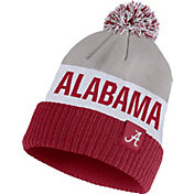 Nike Men's Alabama Crimson Tide Grey/White/Crimson Striped Cuffed Pom Beanie