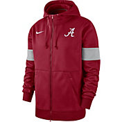 Nike Men's Alabama Crimson Tide Crimson Therma Football Sideline Full-Zip Hoodie