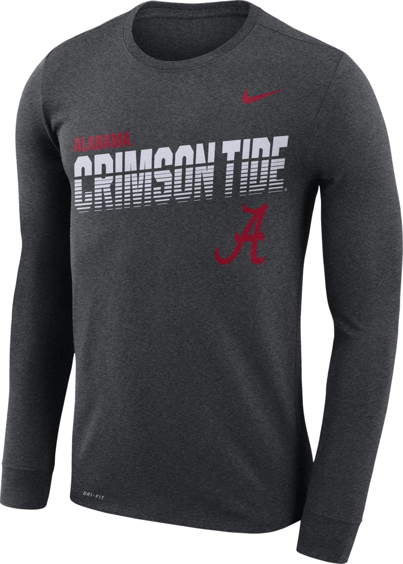 Nike Men's Alabama Crimson Tide Grey Legend Football Sideline Long Sleeve T-Shirt