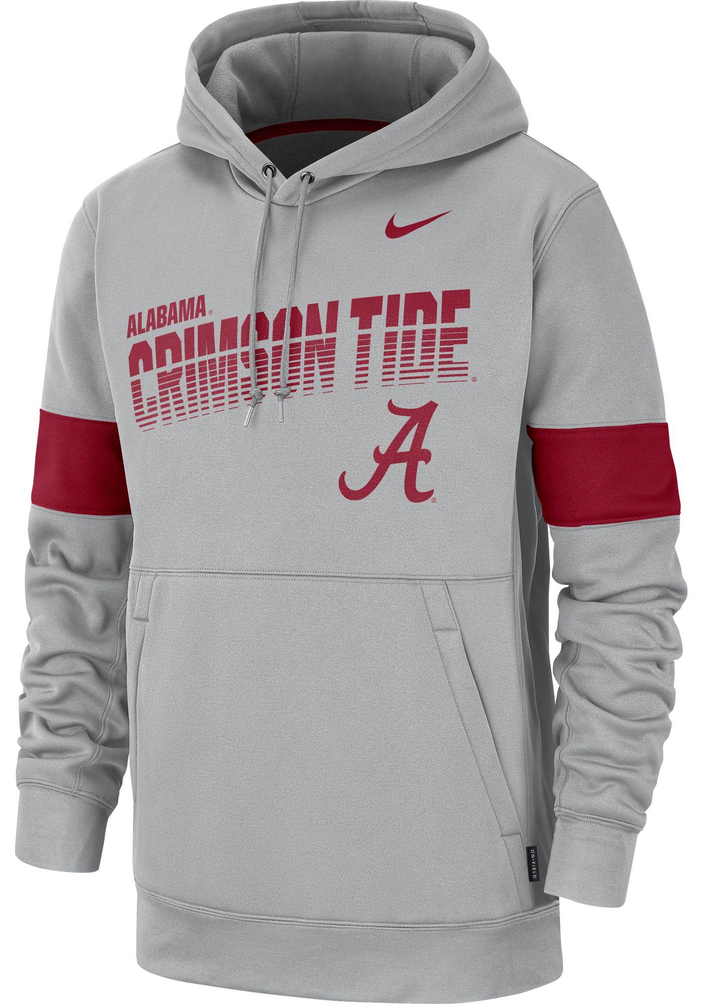 Nike Men's Alabama Crimson Tide Grey Therma Football Sideline Pullover Hoodie