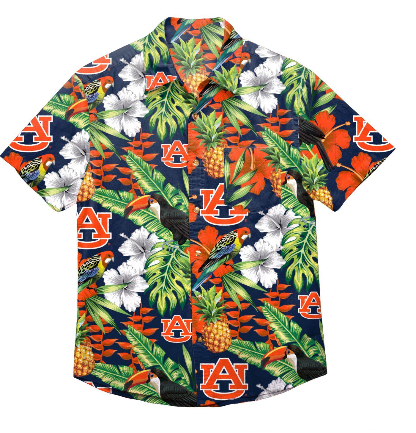 FOCO Men's Auburn Tigers Orange Floral Button-Up Shirt