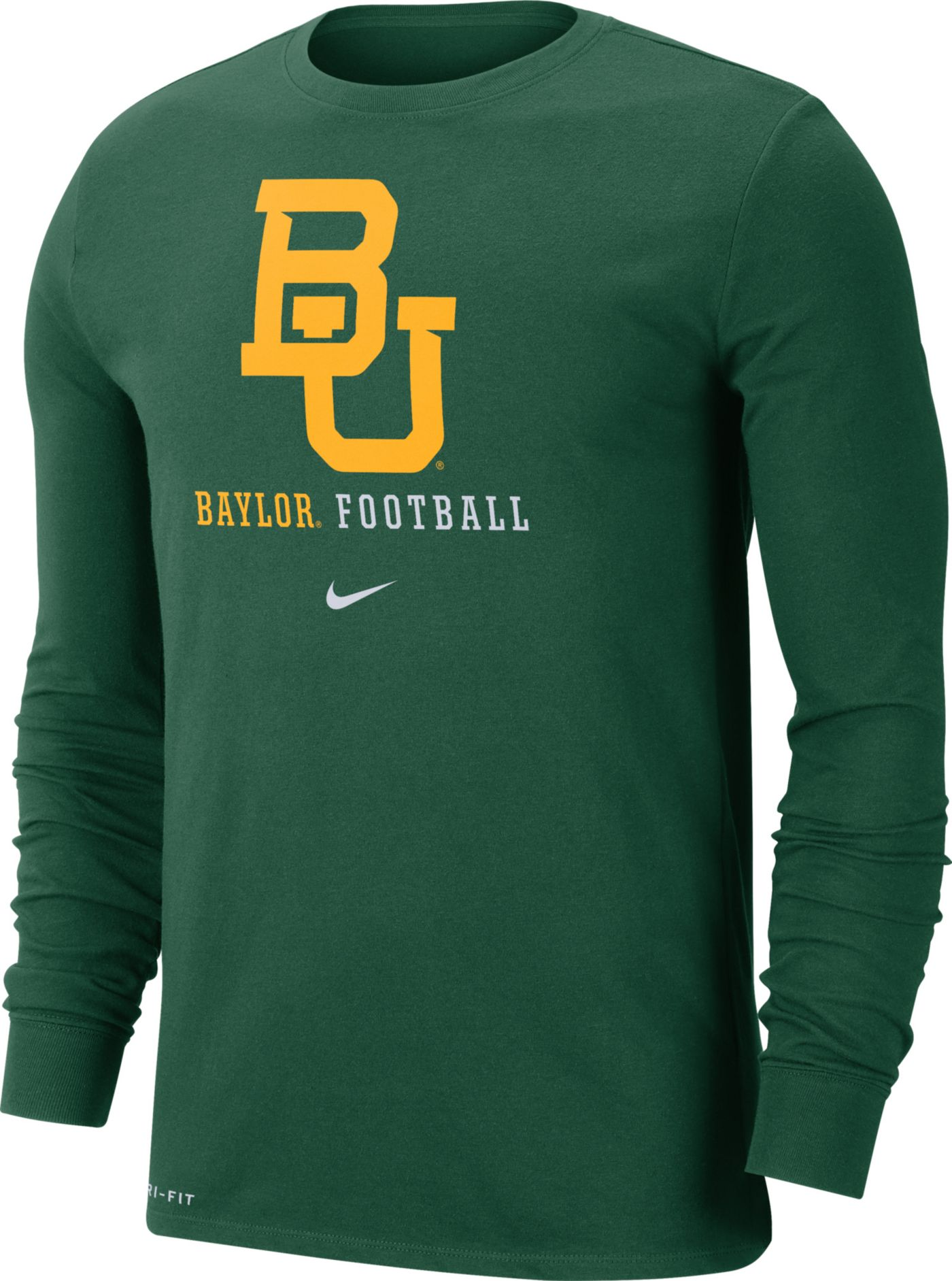 Nike Men's Baylor Bears Green Football Icon Wordmark Long Sleeve T-Shirt