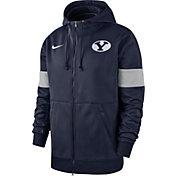 Nike Men's BYU Cougars Blue Therma Football Sideline Full-Zip Hoodie