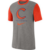 Nike Men's Clemson Tigers Grey Dri-FIT Baseball Slub T-Shirt