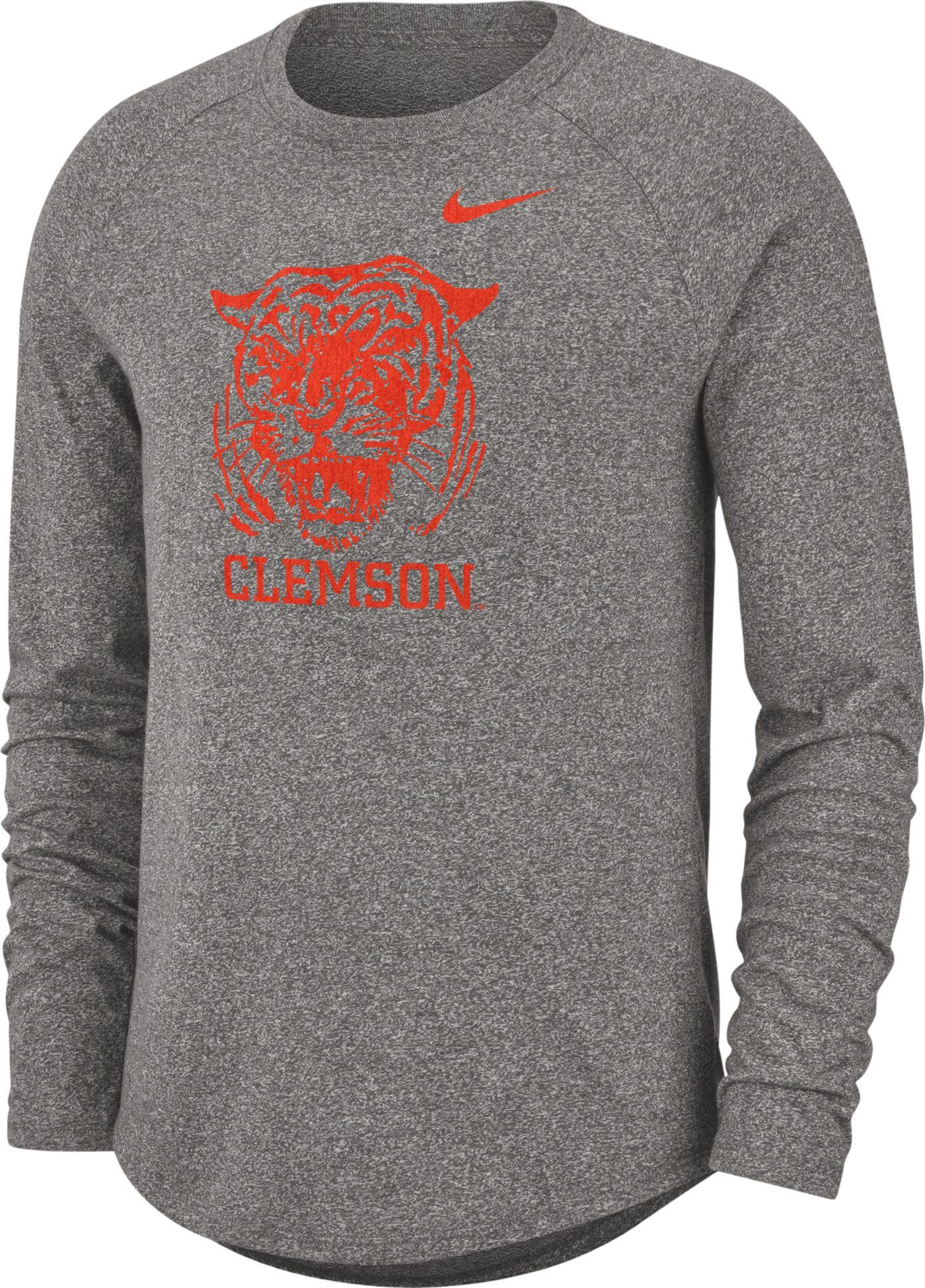 Nike Men's Clemson Tigers Grey Marled Raglan Long Sleeve T-Shirt