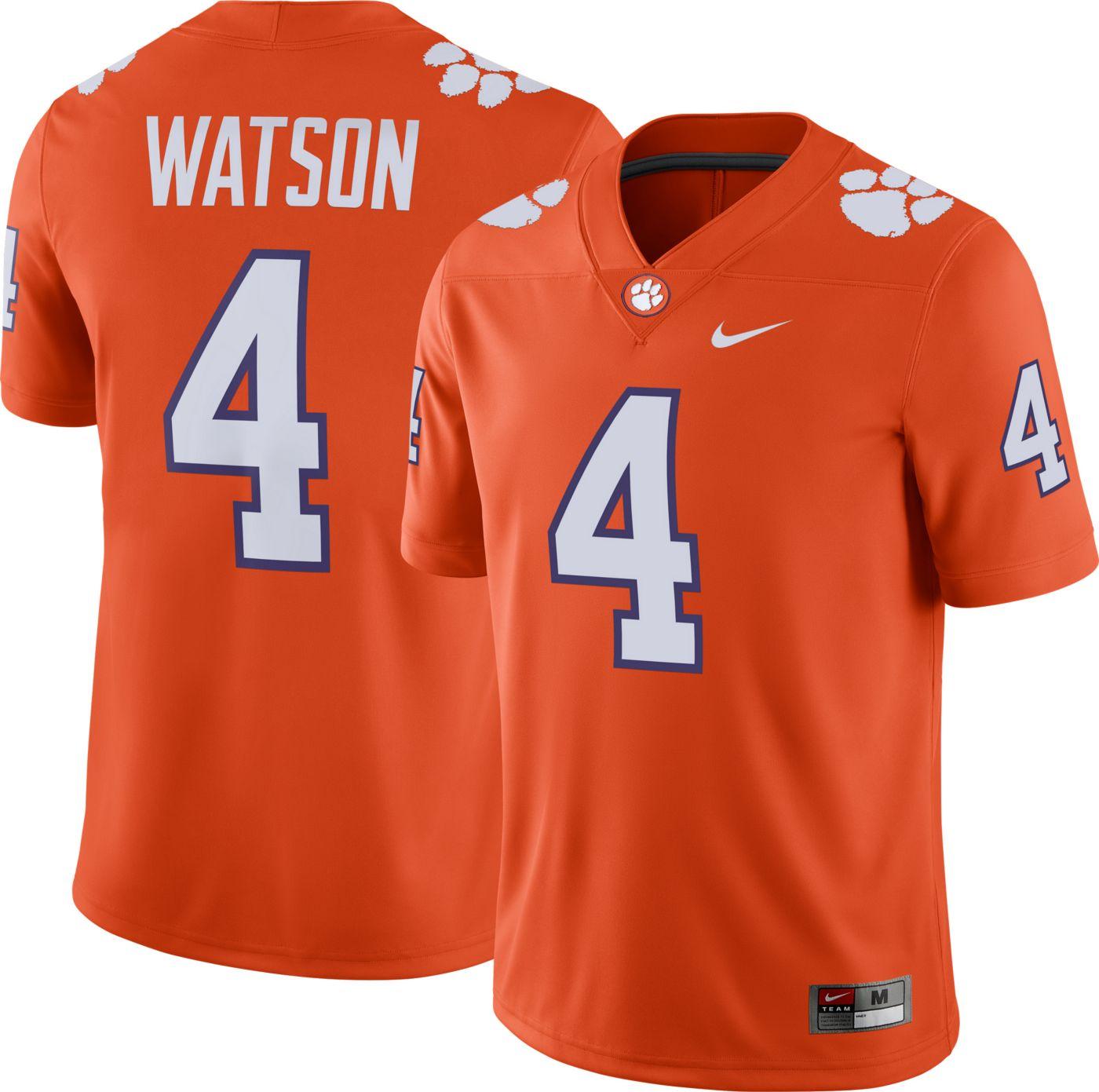 Nike Men's Deshaun Watson Clemson Tigers #4 Orange Dri-FIT Game Football Jersey