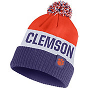 Nike Men's Clemson Tigers Orange/White/Regalia Striped Cuffed Pom Beanie