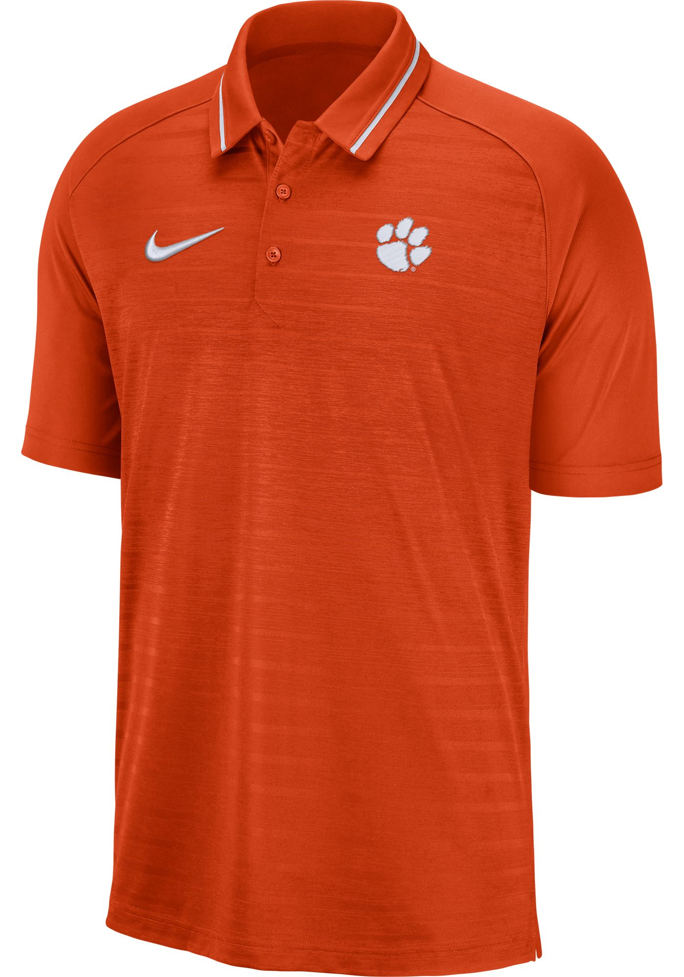 Nike Men's Clemson Tigers Orange Dri-FIT Striped Polo