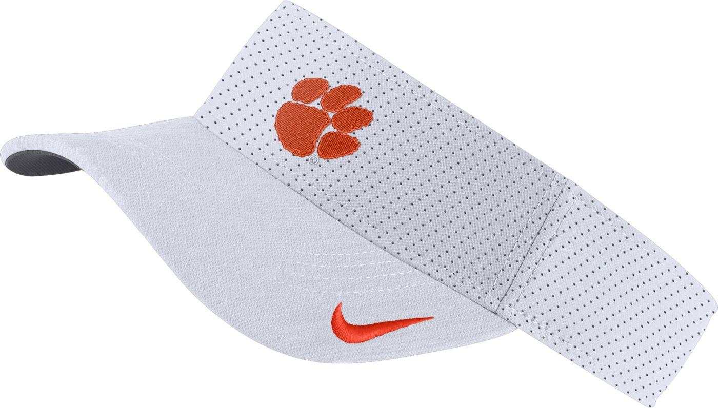Nike Men's Clemson Tigers AeroBill Football Sideline White Visor