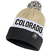 Nike Men's Colorado Buffaloes Gold/White/Black Striped Cuffed Pom Beanie