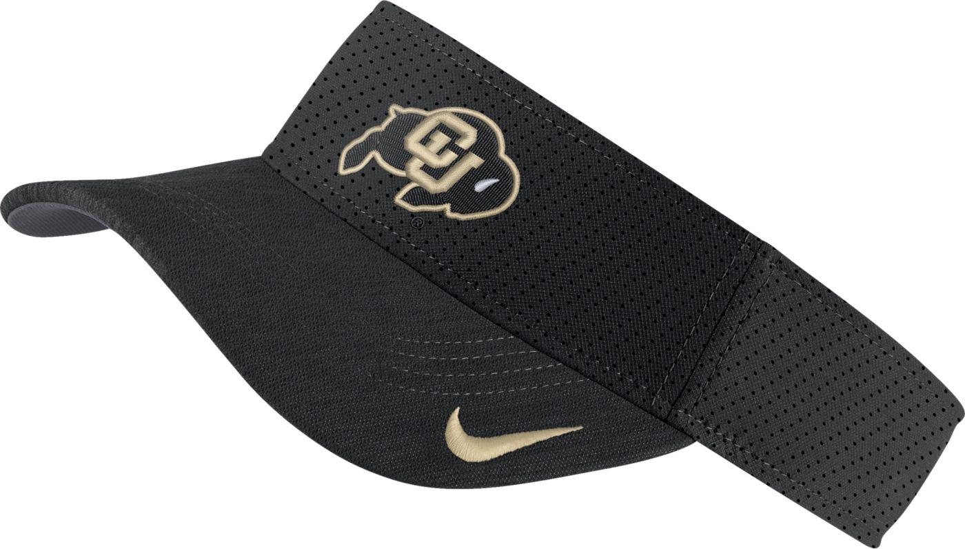 Nike Men's Colorado Buffaloes AeroBill Football Sideline Black Visor