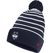 Nike Men's UConn Huskies Blue Football Sideline Cuffed Pom Beanie