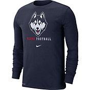 Nike Men's UConn Huskies Blue Football Icon Wordmark Long Sleeve T-Shirt