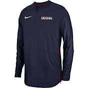 Nike Men's UConn Huskies Blue Lockdown Football Quarter-Zip Jacket