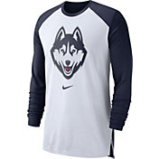 Nike Men's UConn Huskies White/Blue Breathe Long Sleeve Shirt