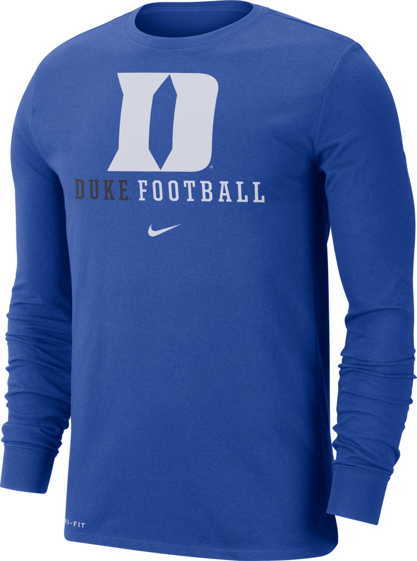 Nike Men's Duke Blue Devils Duke Blue Football Icon Wordmark Long Sleeve T-Shirt