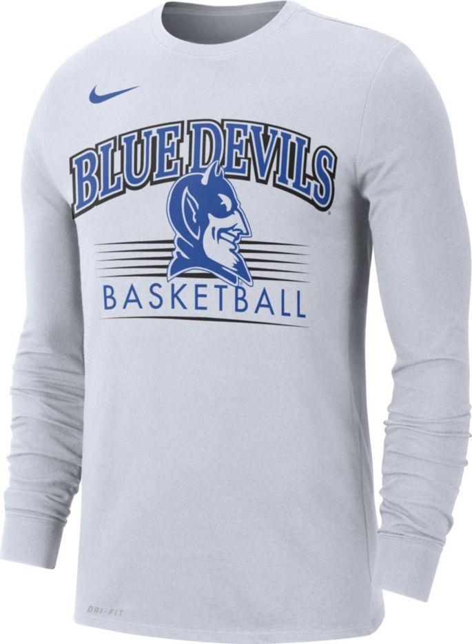 best sneakers ea4e0 fe96a Nike Men's Duke Blue Devils Dri-FIT Retro Long Sleeve Basketball White  T-Shirt