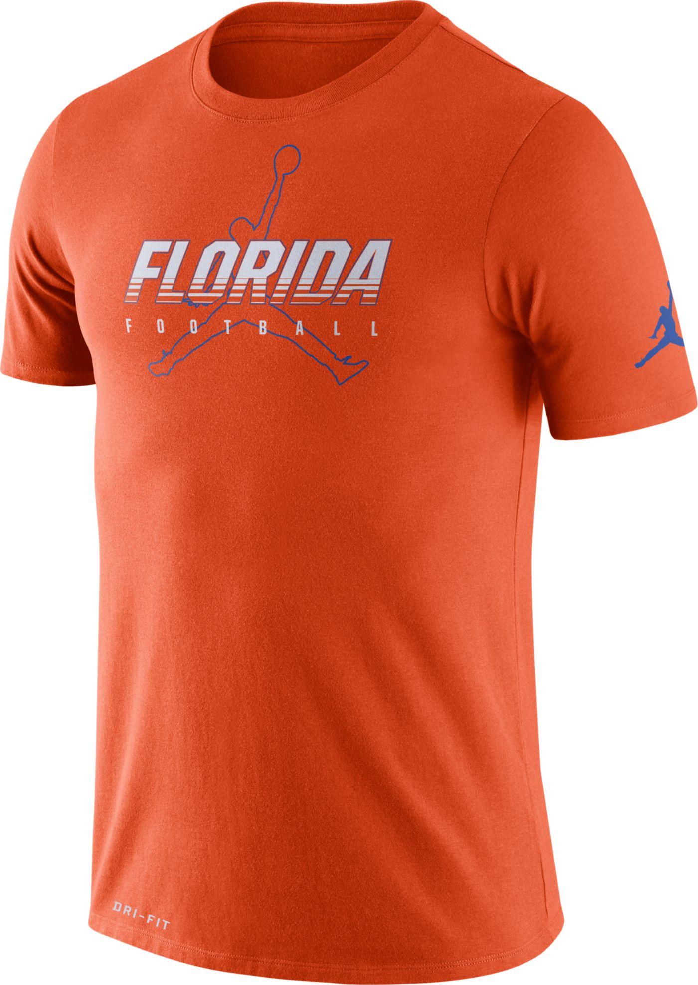 Jordan Men's Florida Gators Orange Football Dri-FIT Cotton Facility T-Shirt