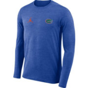 Jordan Men's Florida Gators Blue Football Dri-FIT Coach Long Sleeve T-Shirt