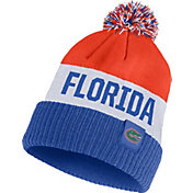 Nike Men's Florida Gators Orange/White/Blue Striped Cuffed Pom Beanie