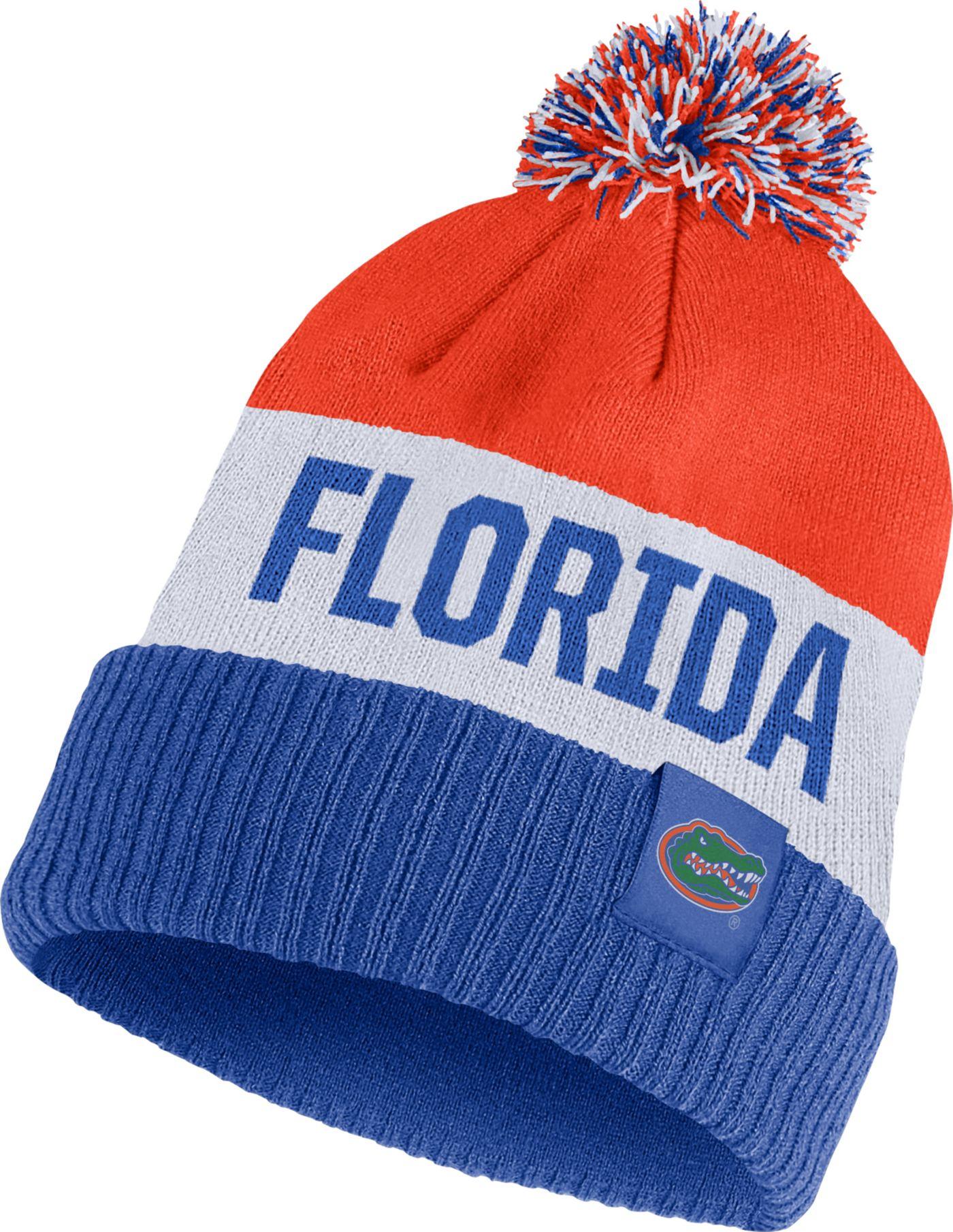 Nike Men's Florida Gators Orange/White/Blue Striped Cuffed Pom Beanie