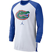 Jordan Men's Florida Gators White/Blue Breathe Long Sleeve Shirt