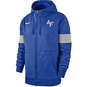 Nike Men's Air Force Falcons Blue Therma Football Sideline Full-Zip Hoodie