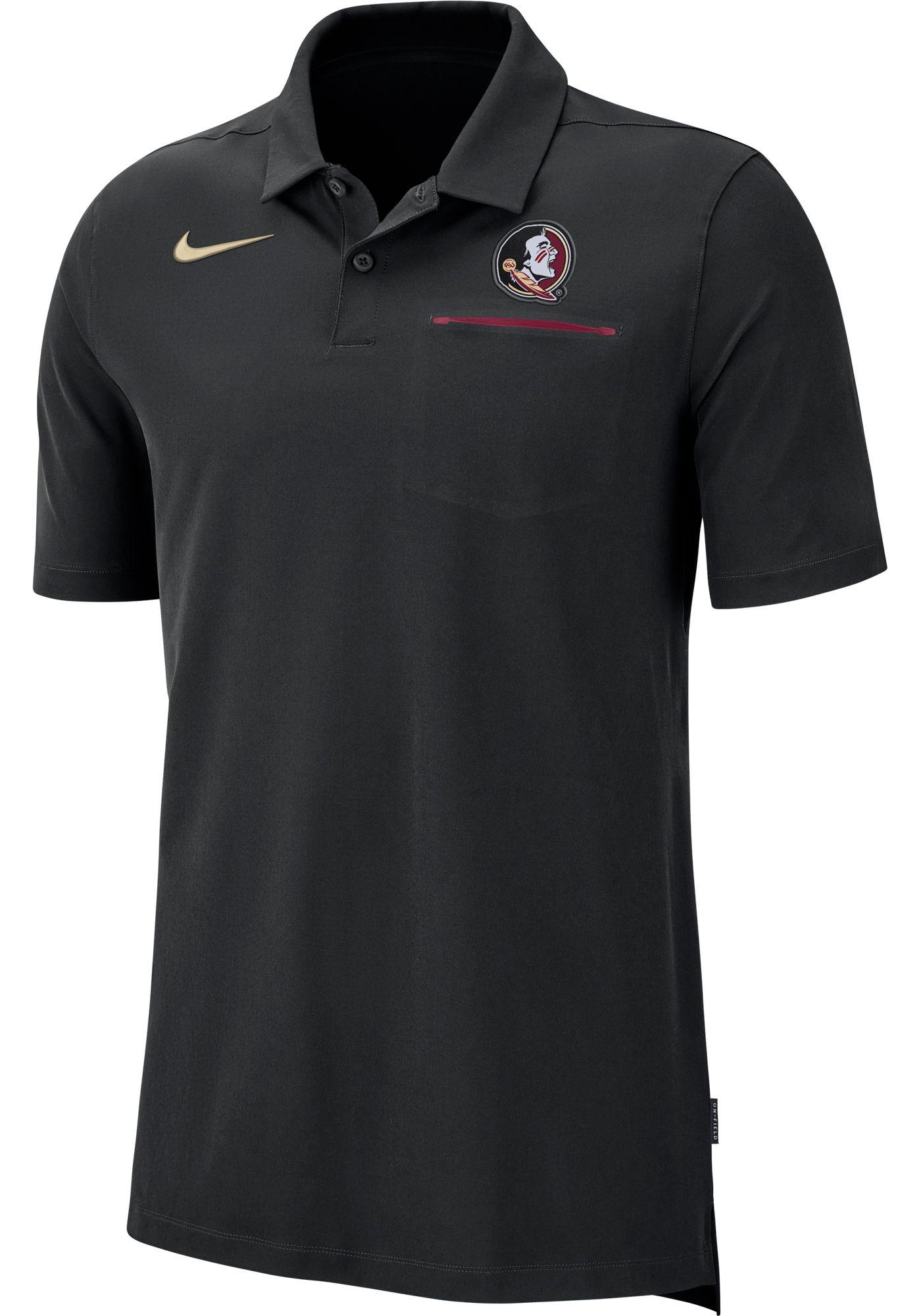 Nike Men's Florida State Seminoles Dri-FIT Elite Football Sideline Black Polo