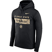 Nike Men's Florida State Seminoles Therma-FIT Pullover Sideline Black Hoodie