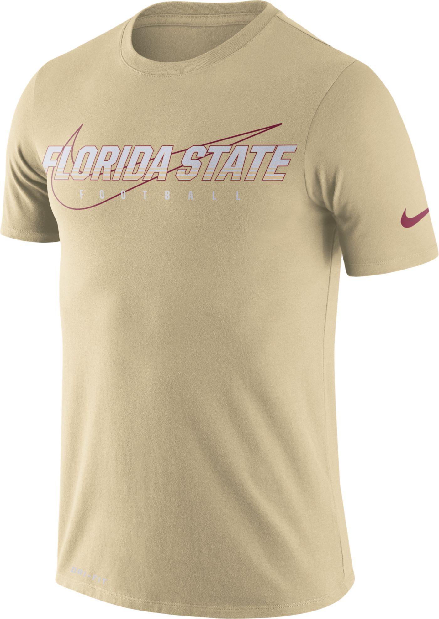 Nike Men's Florida State Seminoles Gold Football Dri-FIT Cotton Facility T-Shirt