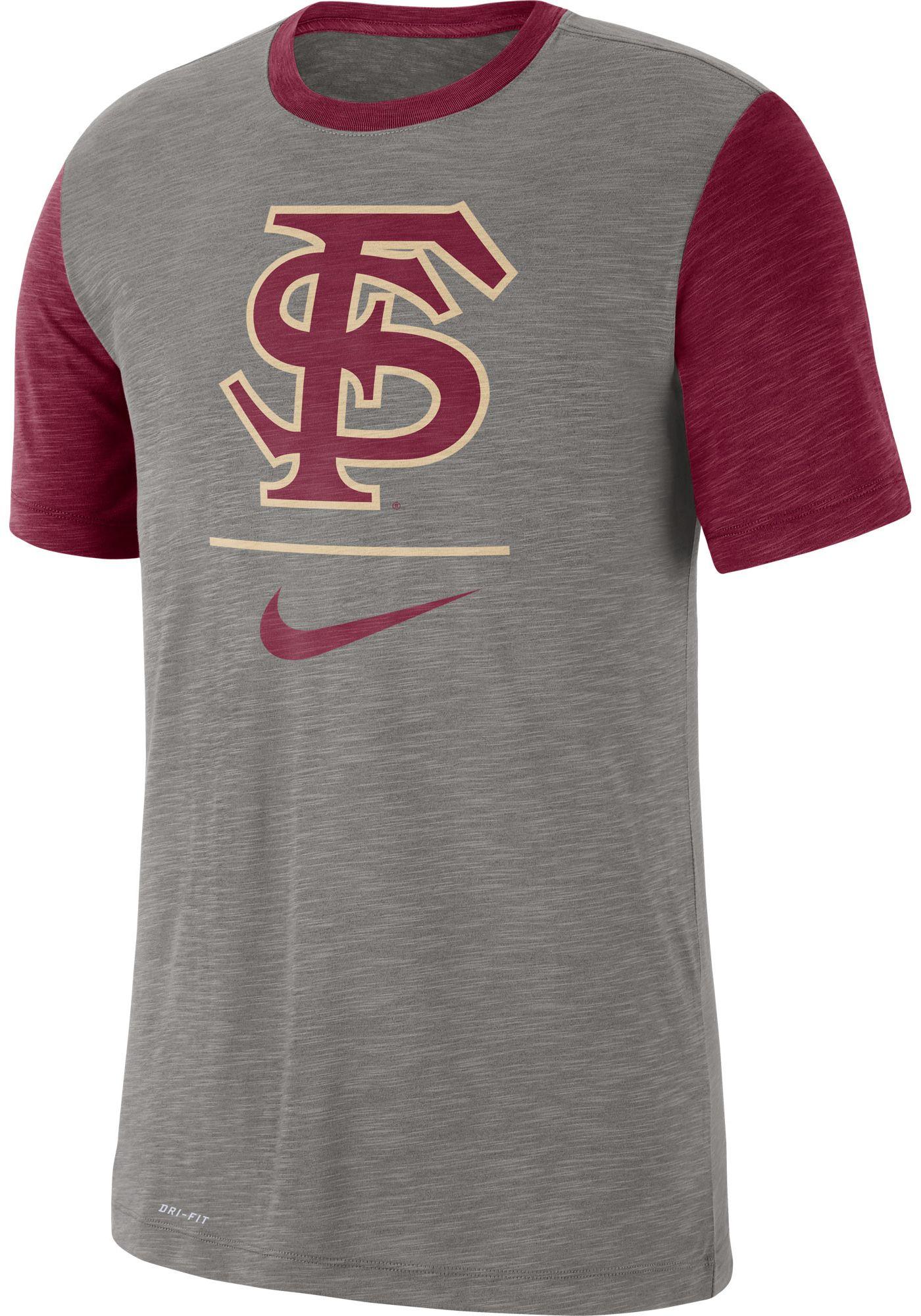 Nike Men's Florida State Seminoles Grey Dri-FIT Baseball Slub T-Shirt