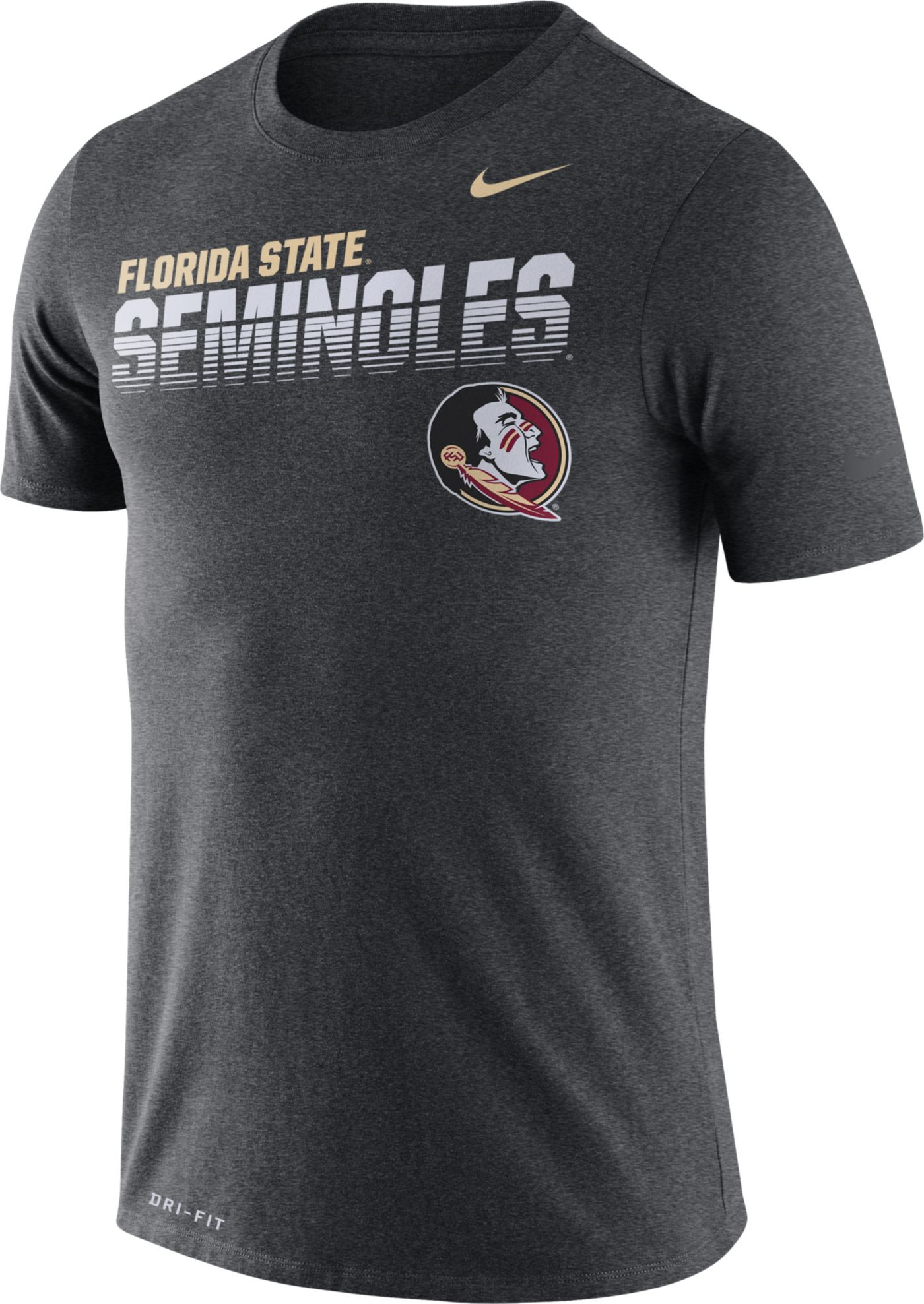 Nike Men's Florida State Seminoles Grey Legend Football Sideline T-Shirt