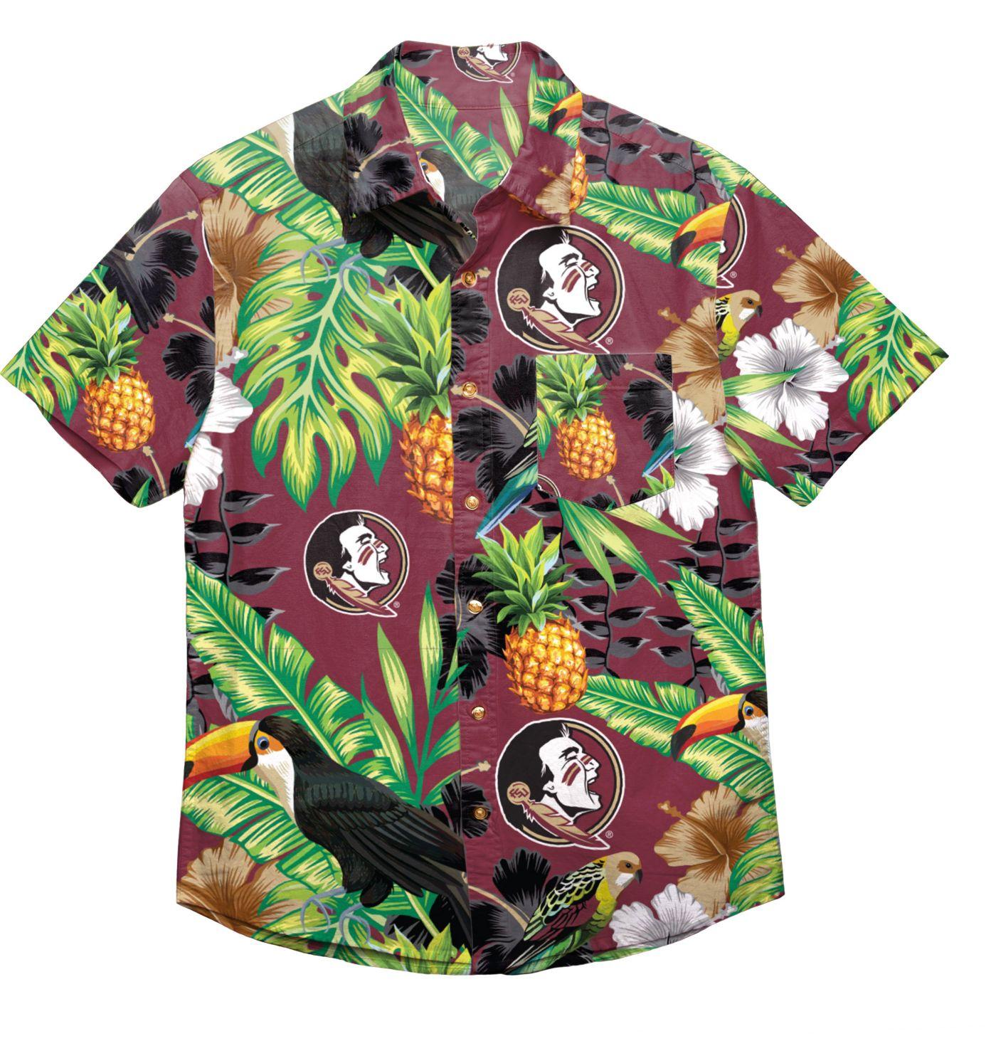 FOCO Men's Florida State Seminoles Garnet Floral Button-Up Shirt