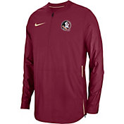Nike Men's Florida State Seminoles Garnet Lockdown Football Quarter-Zip Jacket