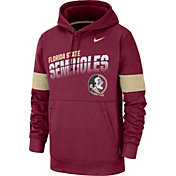 Nike Men's Florida State Seminoles Garnet Therma Football Sideline Pullover Hoodie