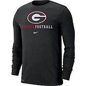 Nike Men's Georgia Bulldogs Football Icon Wordmark Long Sleeve Black T-Shirt