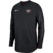Nike Men's Georgia Bulldogs Lockdown Football Quarter-Zip Black Jacket