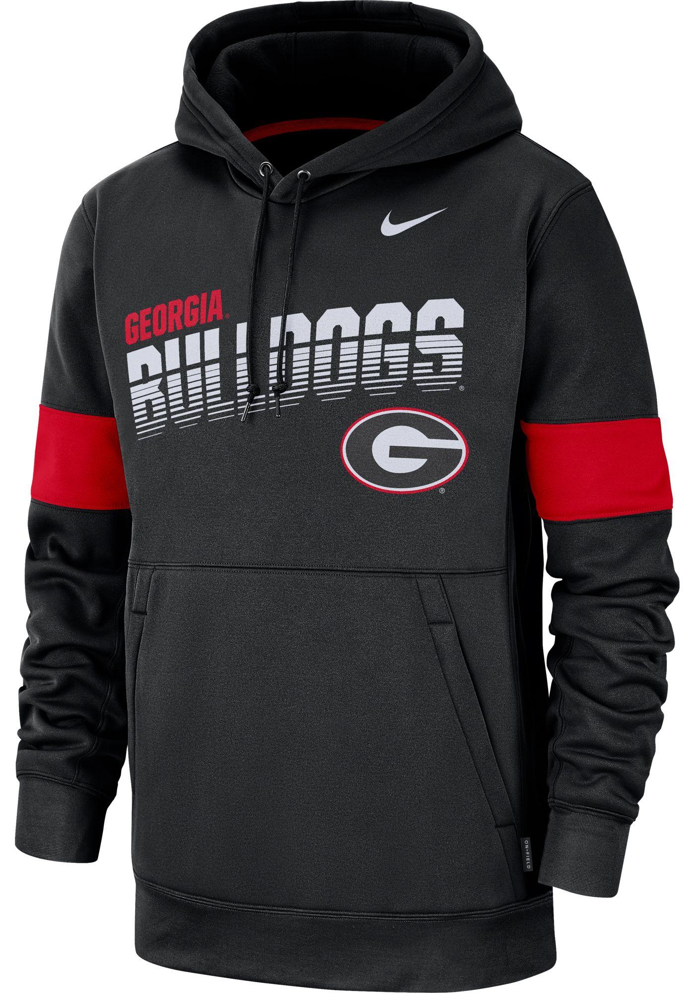 Nike Men's Georgia Bulldogs Therma Football Sideline Pullover Black Hoodie
