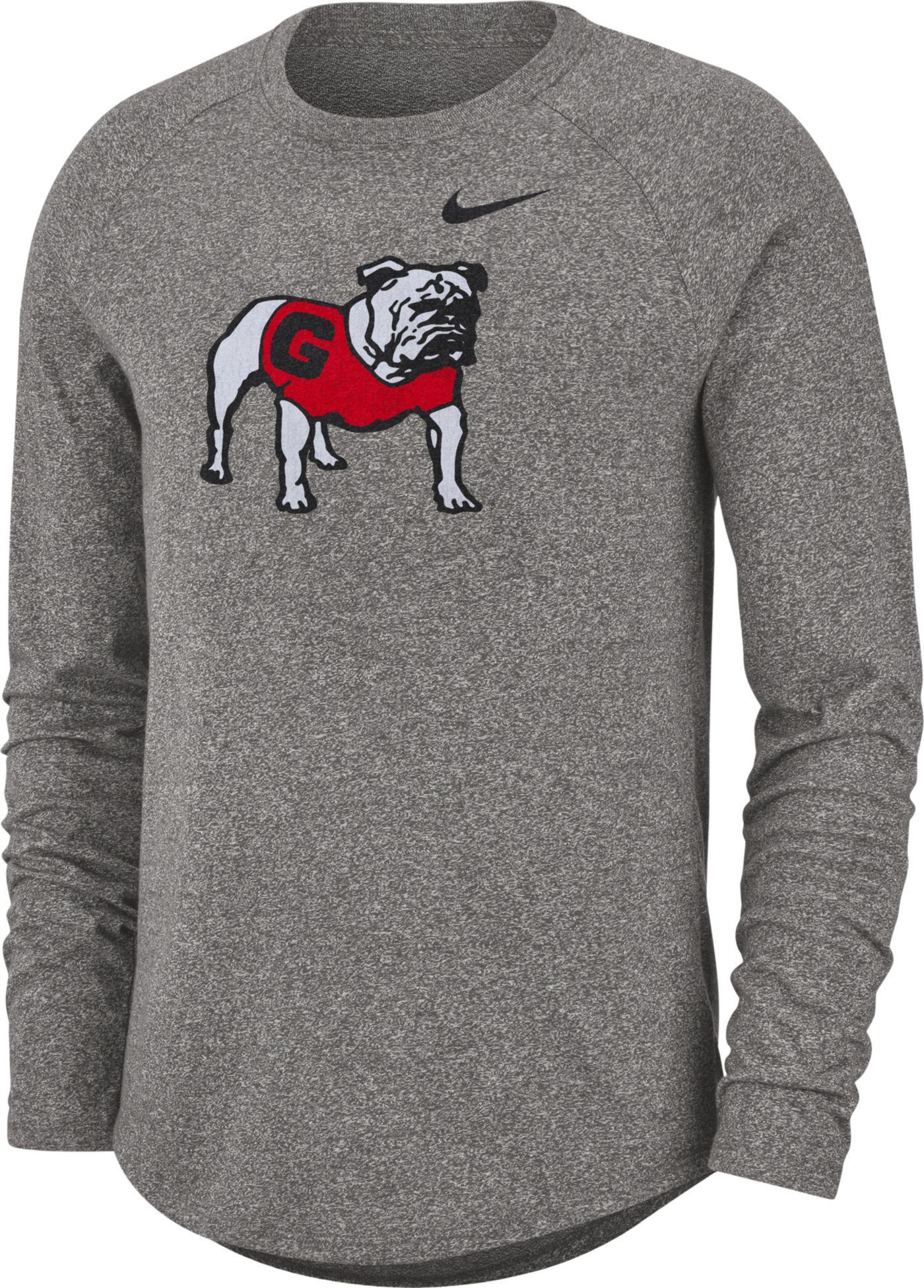 Nike Men's Georgia Bulldogs Grey Marled Raglan Long Sleeve T-Shirt
