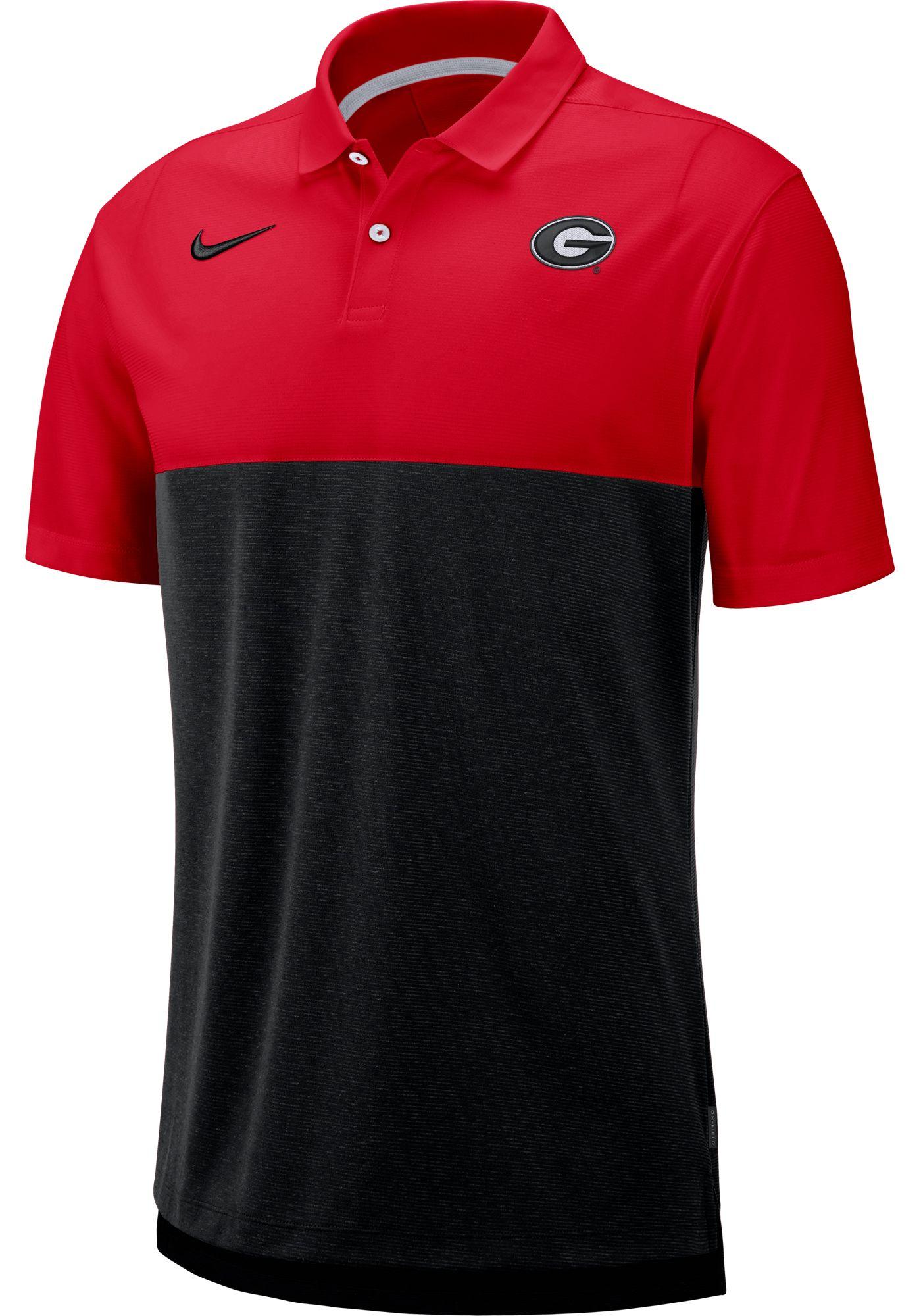 Nike Men's Georgia Bulldogs Red/Black Dri-FIT Breathe Football Sideline Polo
