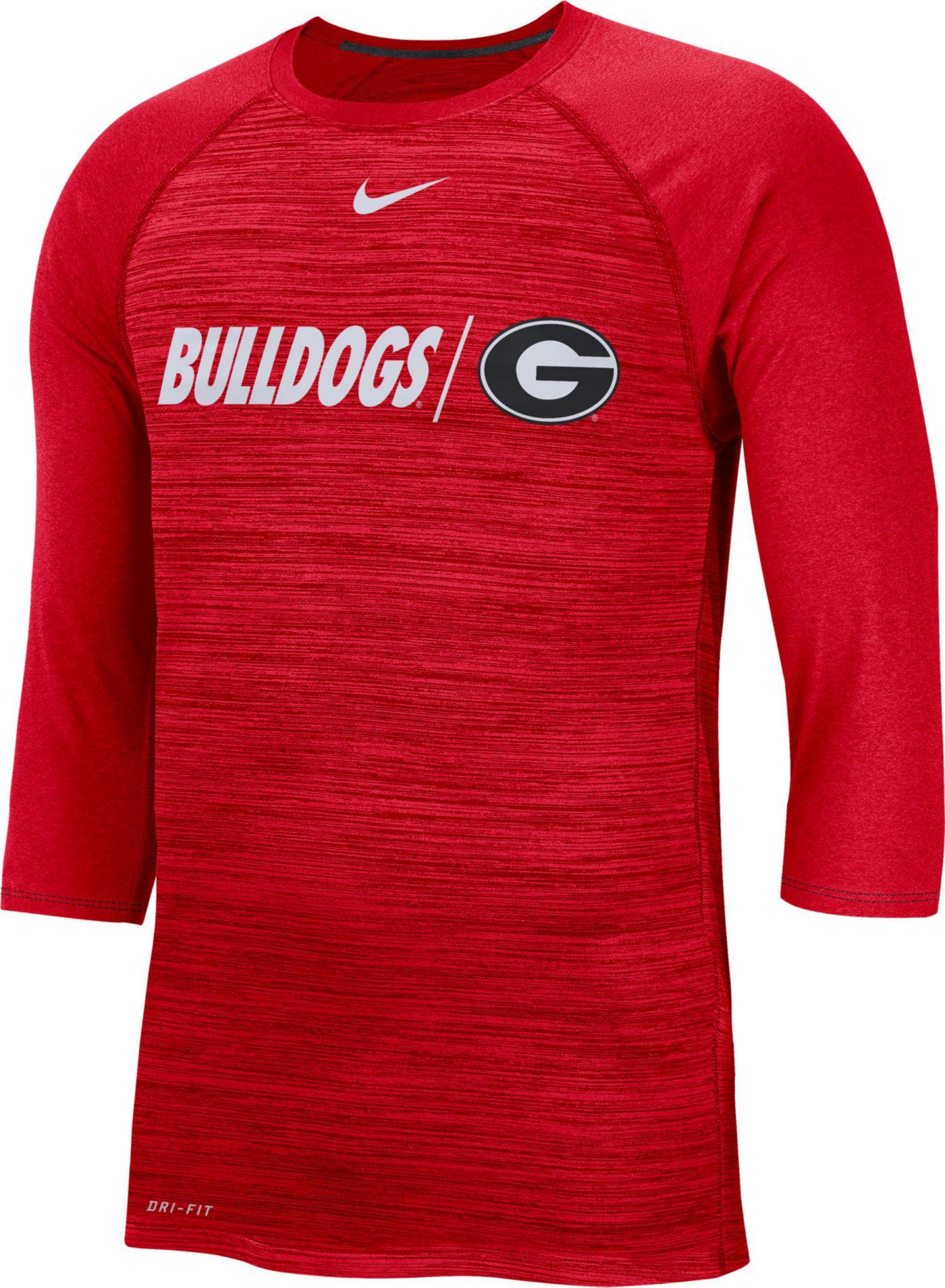 Nike Men's Georgia Bulldogs Red Dry Legend 3/4 Sleeve T-Shirt