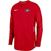 Nike Men's Georgia Bulldogs Red Lockdown Football Quarter-Zip Jacket