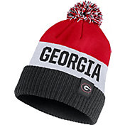 Nike Men's Georgia Bulldogs Red/White/Black Striped Cuffed Pom Beanie