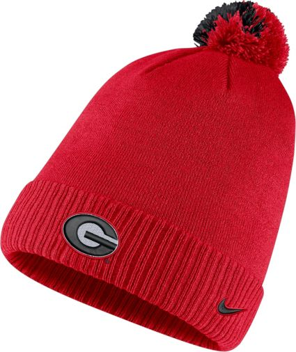 Nike Men s Georgia Bulldogs Red Football Sideline Pom Beanie. noImageFound 01c461ecd4c