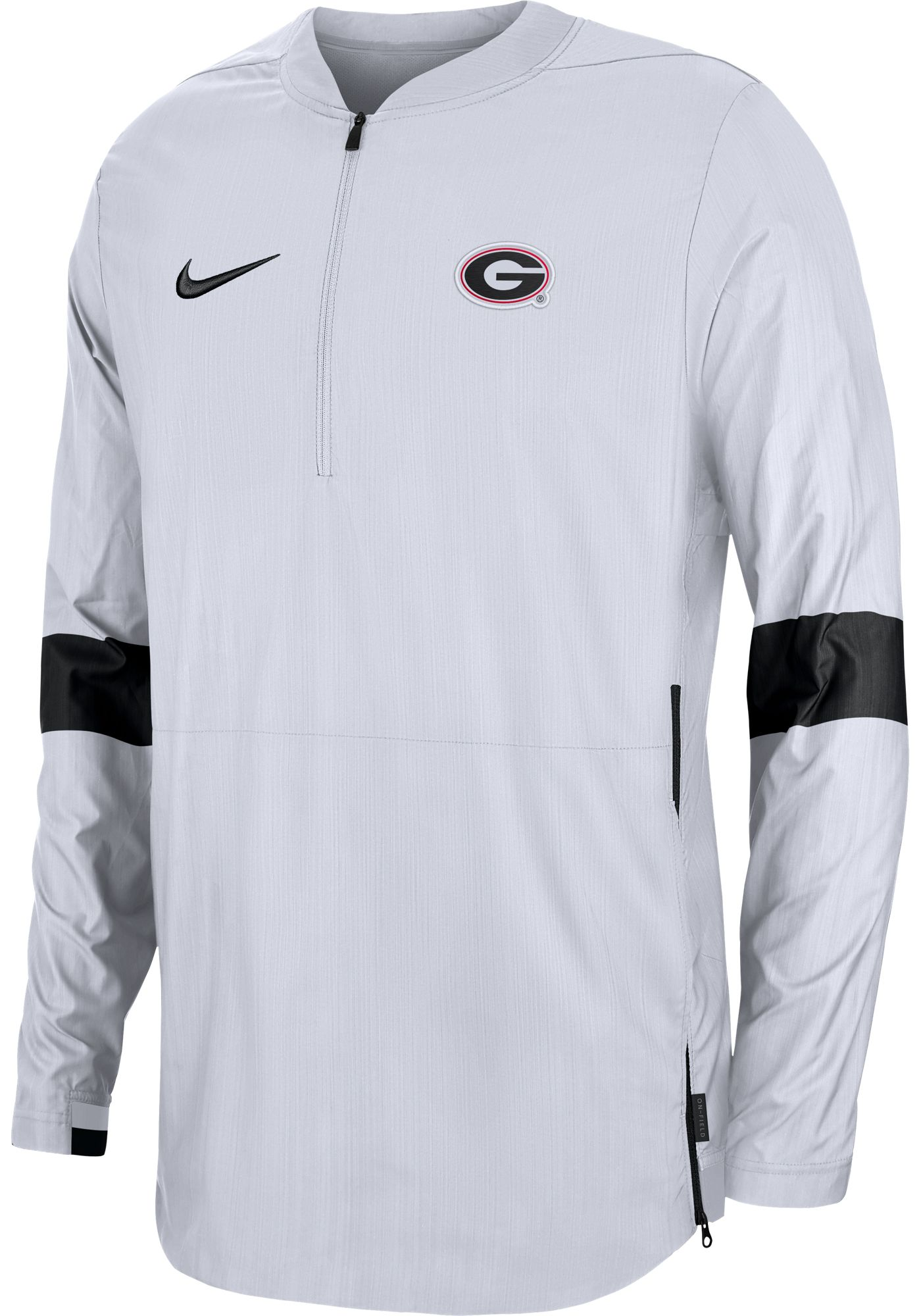 Nike Men's Georgia Bulldogs Lockdown Half-Zip Football White Jacket