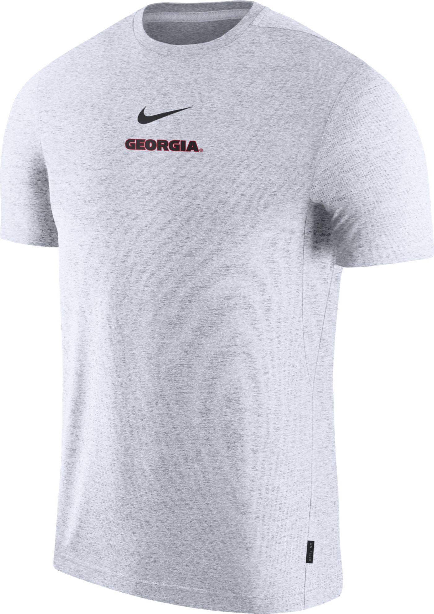 Nike Men's Georgia Bulldogs Dri-FIT Coach UV Football White T-Shirt