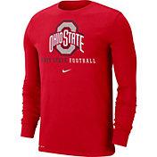 Nike Men's Ohio State Buckeyes Scarlet Football Icon Wordmark Long Sleeve T-Shirt