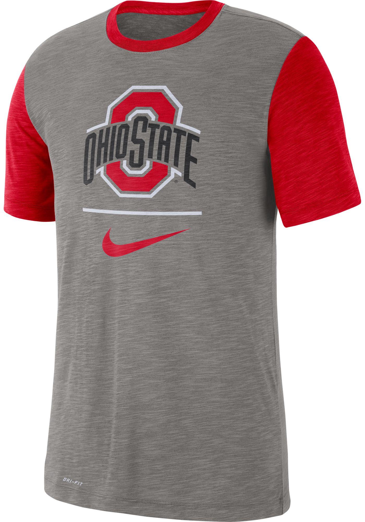 Nike Men's Ohio State Buckeyes Grey Dri-FIT Baseball Slub T-Shirt