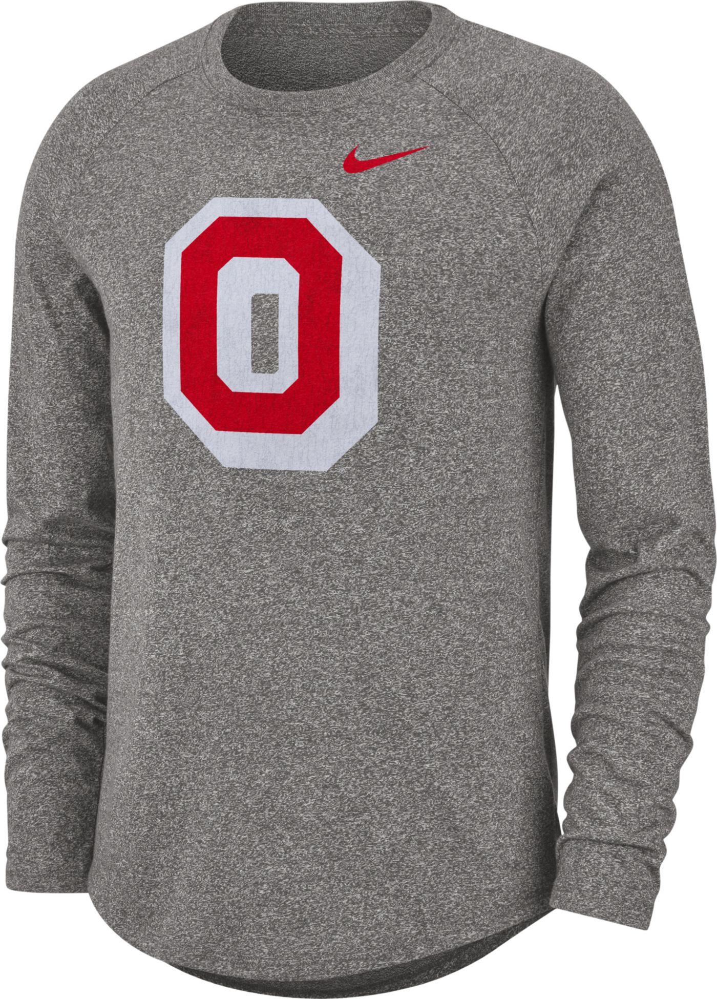 Nike Men's Ohio State Buckeyes Gray Marled Raglan Long Sleeve T-Shirt